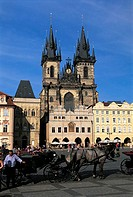 Czech Republic, Prague, Staromestske Namesti Square, Church of Our Lady Before Tyn
