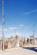 Gedenkstätte Oradour sur Glane, Ruinendorf, Hauptstrasse, zerstört 10 06 1944 durch die Nazis