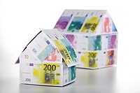Two houses of Euro notes, close-up