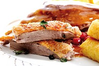 Roast goose with side dishes, close-up