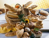 Assorted breads and bread rolls