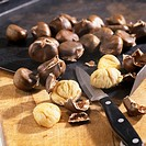 Sweet chestnuts Castanea sativa, roasted