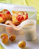 Polenta fruit bread in plastic box, custard in plastic pot 3