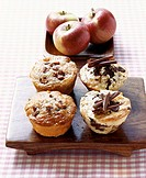 Apple & cinnamon muffins and stracciatella & rum muffins