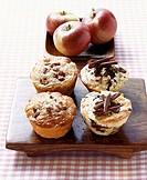 Apple & cinnamon muffins and stracciatella & rum muffins