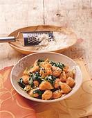 Gnocchi di zucca agli spinaci pumpkin gnocchi with spinach