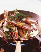 Razor shells in herb stock