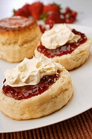 Scones with jam and clotted cream England