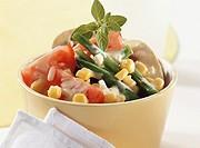 Bean and mushroom salad with mustard sauce