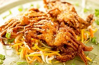 Deep-fried soft shell crabs