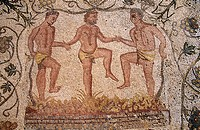 The Vintage. Treading of grapes. Room of the autumn mosaic. Mosaic in the Amphitheatre. Mérida. Badajoz province. Extremadura. Spain.