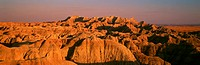 Sunset panoramic view of mountains in Badlands National Park