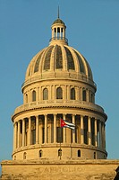 Morning light on the Capitolio and Cuban Flag, the Cuban capitol building