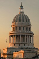Sunset on the Cuban capitol building in Havana