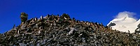 Panoramic view of Chinstrap penguins among rock formations