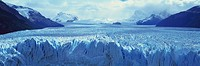Panoramic view of icy formations of a glacier