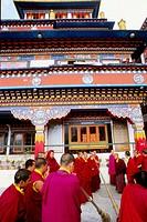 Druk Sangakchoeling Gompa tibetan buddhist monastery, monks. Darjeeling. West Bengal. India