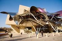 Hotel. Ciudad del Vino, Herederos de Marques de Riscal winery building by Frank O. Gehry. Elciego, Rioja alavesa. Alava, Euskadi, Spain
