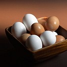 White and Brown Eggs in Basket