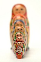 Close-up of Russian dolls in a row