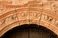 Detail of the Plateresque gate of the church of la Asunción (S.XVI) en Hornos de Segura. Jaén province. Spain