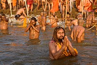 Nagababas during their holy bath in the Ganges in Prayag during the Ardh Kumbh Mela 2007