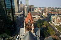 Copley Square, Trinity Church, Boston, Massachusetts. USA. View to west