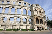 Pula Roman Amphitheatre largest remaining outside of Italy. Istria. Croatia