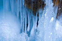Frozen waterfall in Jasper National Park