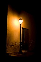 Spain, Lanzarote, lantern in front of building