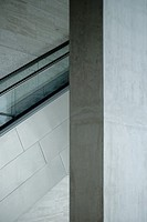 Architectural detail, concrete wall and escalator