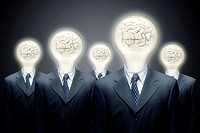 Close-up of five businessmen with light bulbs for heads