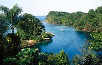 The Blue Hole (also known as the Blue Lagoon). Near Port Antonio. Jamaica