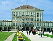 Tourists at palace, Nymphenburg Palace, Munich, Bavaria, Germany