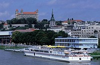High angle view of steamboat at harbor, Bratislava, Slovakia