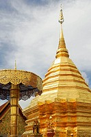 Low angle view of temple, Wat Phrathat Doi Suthep, Chiang Rai Province, Thailand