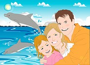 Portrait of a happy family near sea (thumbnail)