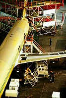 High angle view of an airplane in an airplane factory, Shanghai, China