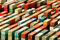 High angle view of containers at a dock, Hong Kong, China (thumbnail)