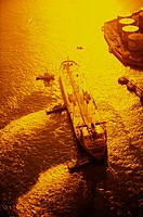 High angle view of a supertanker, Osaka Prefecture, Japan