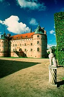 Statue in the courtyard of a castle, Egeskov Castle, Funen County, Denmark (thumbnail)