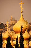 Domes of a church, Church Of St  Mary Magdalene, Mount Of Olives, Jerusalem, Israel