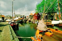 Boats moored at a harbor, Netherlands