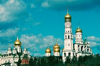 Low angle view of golden cupolas, Bell Tower of Ivan The Great, Moscow, Russia