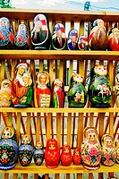 Close-up of religious and political dolls, St  Petersburg, Russia