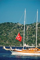 Turkish flag on a sailboat in the sea, Turkey