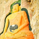 Close-up of Buddha carved on a rock, Lhasa, Tibet, China
