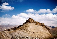 Low angle view of a fort on a mountain, Gyantze Fort, Gyantze, Tibet, China