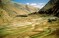 High angle view of a river flowing through a landscape, Tsangpo River, Tibet, China