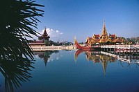 Palace on a barge in a moat, Yangon, Myanmar (thumbnail)